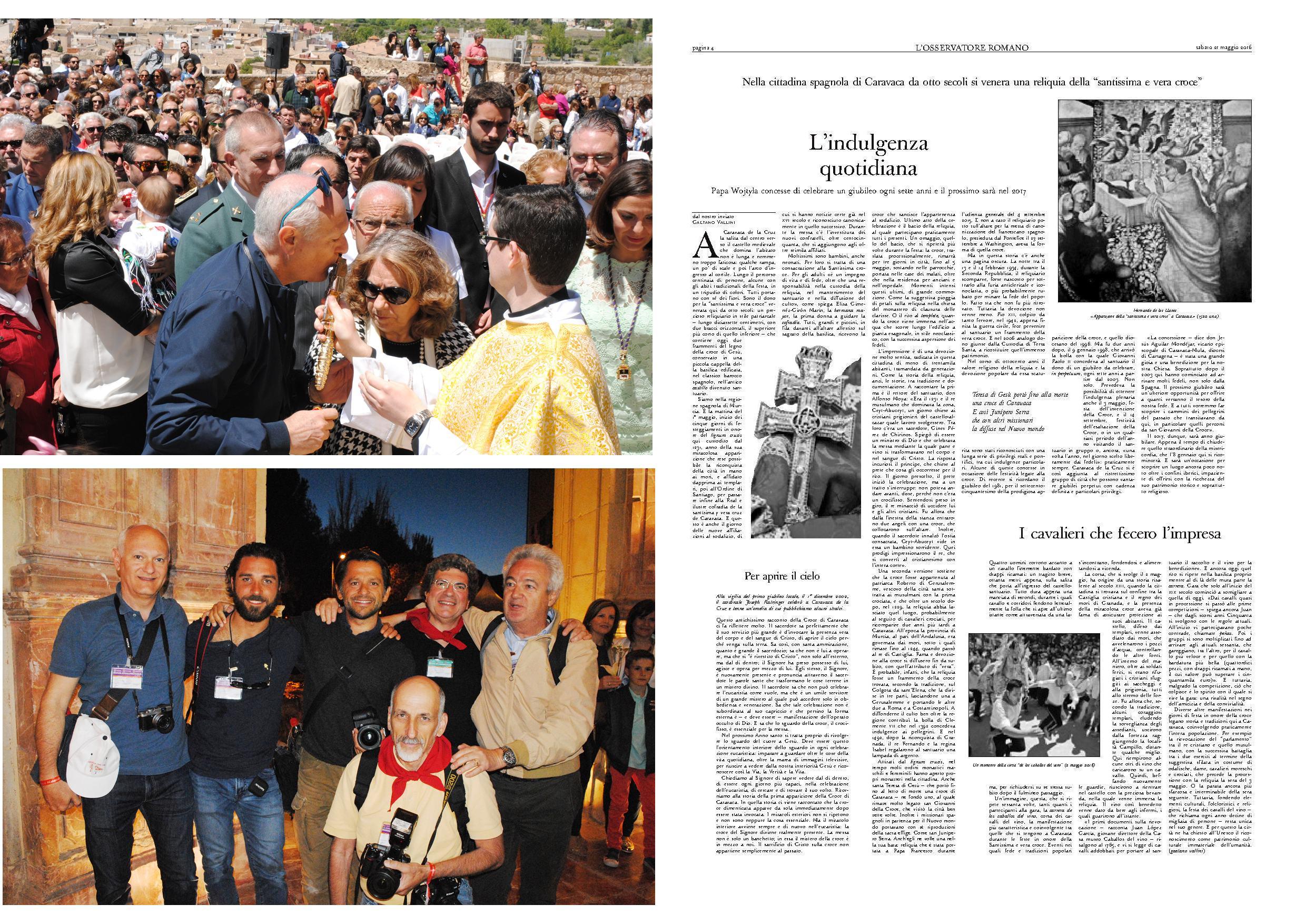 Caravaca de la Cruz, presente en la prensa vaticana